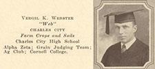 Virgil (Vergil) K. Webster from ISU 'Bomb' Yearbook, 1925